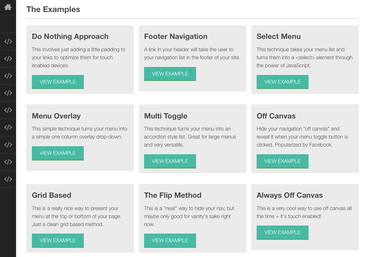 Examples of common responsive navigation