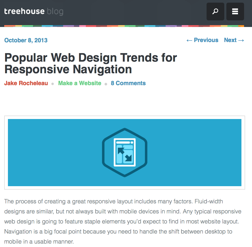 Navigation trend from Treehouse